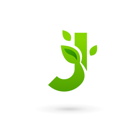 Letter J eco leaves logo icon design template elements. Vector color sign. Vector