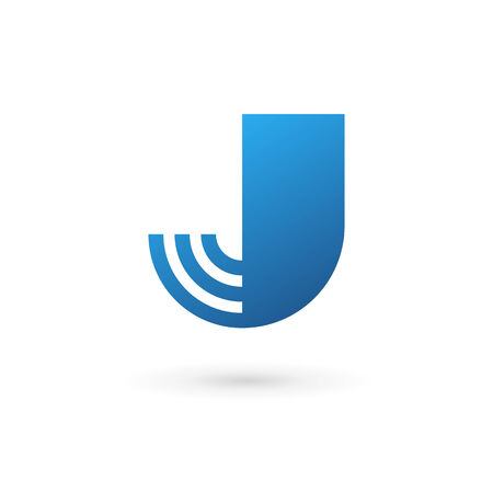 J: Letter J wireless logo icon design template elements. Vector color sign.