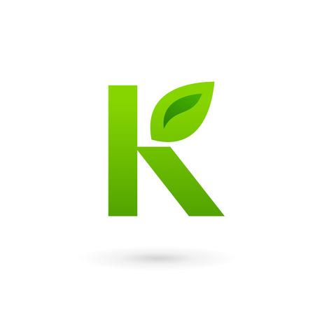 Letter K eco leaves logo icon design template elements. Vector color sign.