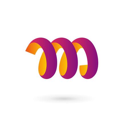 手紙 M 春ロゴ アイコン デザイン テンプレート要素  イラスト・ベクター素材