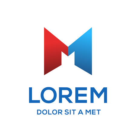 Letter M number one 1 logo icon design template elements Illustration