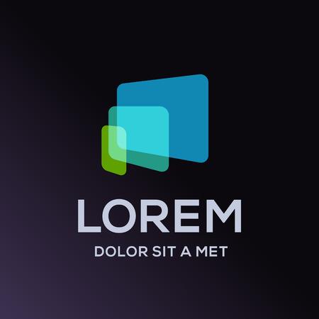 logo informatique: ordinateur portable d'ordinateur tablette téléphone logo icône de modèle de conception. Vecteur couleur signe.