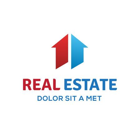 nieruchomosci: Numer jeden znak 1 nieruchomości ikona logo szablon z domu i strzałki