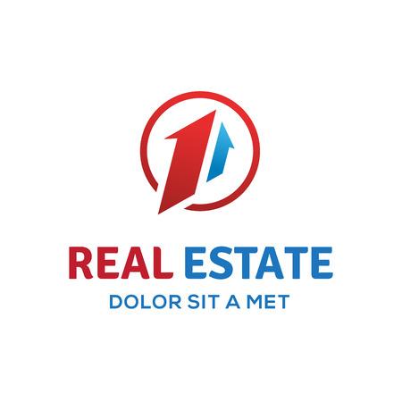 ?real estate?: El n�mero uno 1 inmobiliaria signo logotipo de la plantilla icono del dise�o con la casa y la flecha
