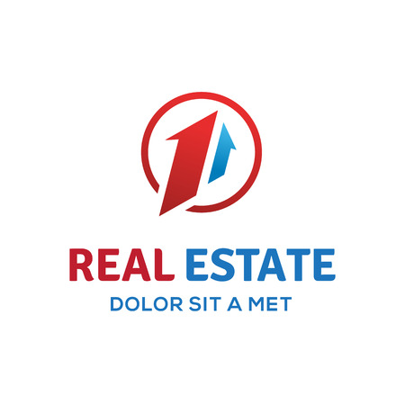 one: Number one 1 real estate sign logo icon design template with house and arrow