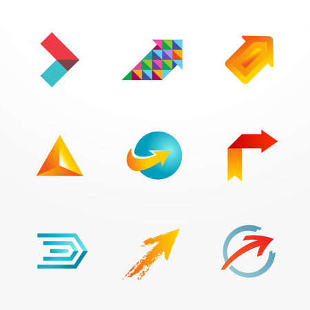 Arrow symbol vector logo icon set. Collection of colorful signs. Vector