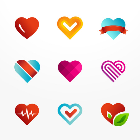 Heart symbol logo icon set. May be used in medical, dating, Valentines Day and wedding design.