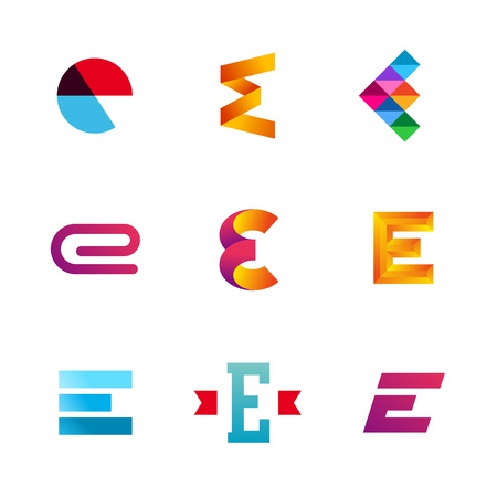 e card: Set of letter E logo icons design template elements. Collection of vector signs.