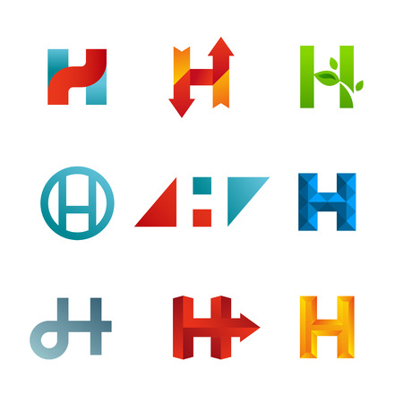 logo icons: Set of letter H logo icons design template elements. Collection of vector signs.