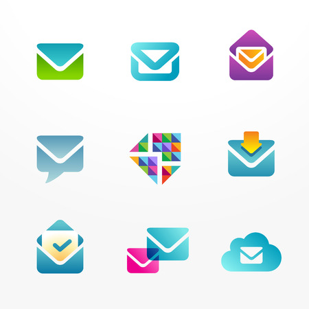 E-mail logo icon set based on envelope symbol