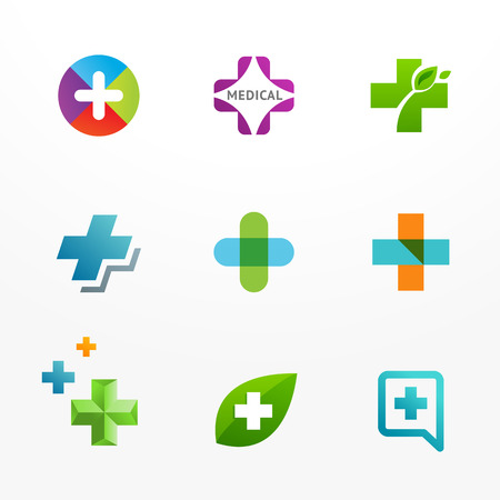 Vector set of medical logo icons with cross and plus Vector