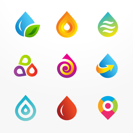 Water drop symbol vector logo icon set. May be used in ecological, medical, chemical, food and oil design.