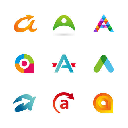 Set of letter A logo icons design template elements. Collection of vector signs. Vector