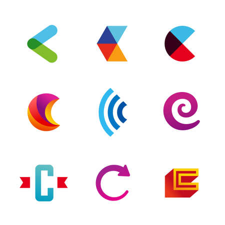 letter c: Set of letter C logo icons design template elements. Collection of vector signs. Illustration