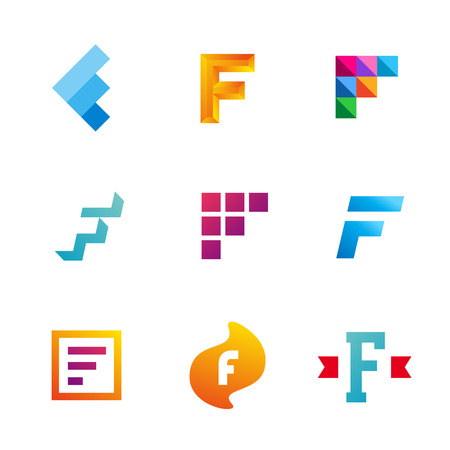 Set of letter F logo icons design template elements. Collection of vector signs. Vector