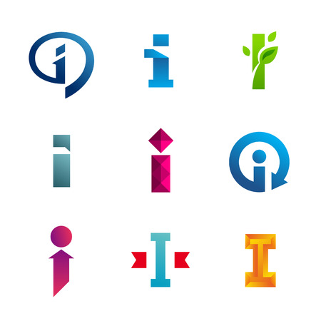 Set of letter I logo icons design template elements. Collection of vector signs.