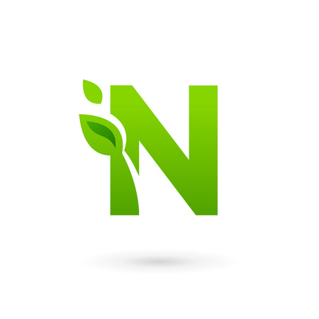 N: Letter N eco leaves logo icon design template elements