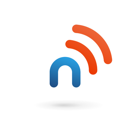 N: Letter N wireless logo icon design template elements