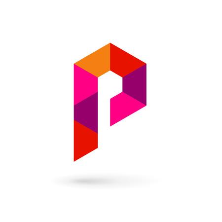 letter p: Letter P mosaic logo icon design template elements