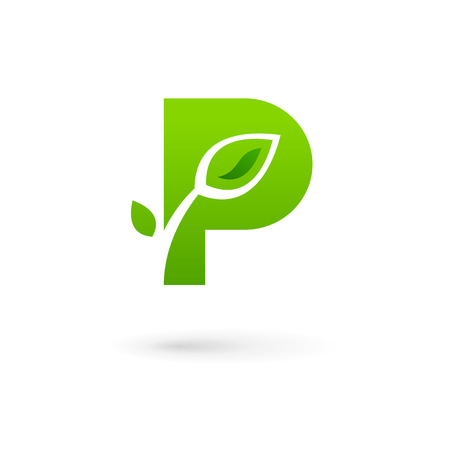 Letter P eco leaves logo icon design template elements
