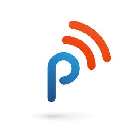 Letter P wireless logo icon design template elements Vector