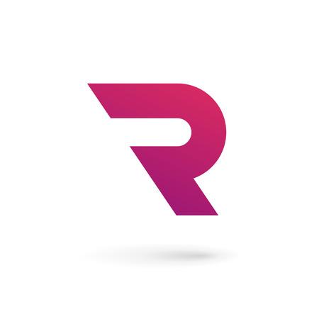 手紙 R ロゴ アイコンのデザイン テンプレートの要素