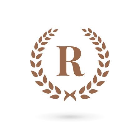 Letter R laurel wreath logo icon design template elements