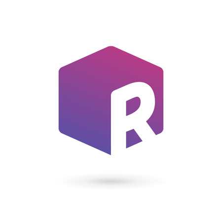 letter box: Letter R cube logo icon design template elements