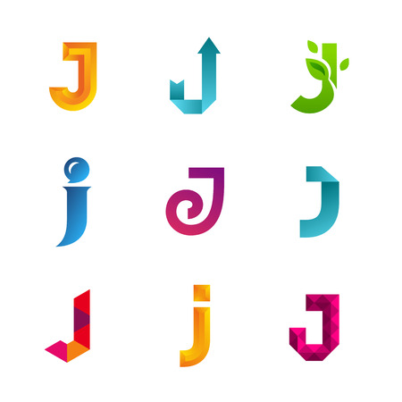 J: Set of letter J logo icons design template elements. Collection of vector signs. Illustration