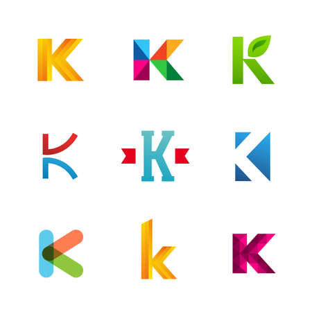 letter k: Set of letter K logo icons design template elements. Collection of vector signs.