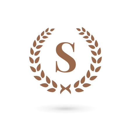 Letter S laurel wreath logo icon design template elements Vector