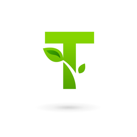 Letter T eco leaves logo icon design template elements Vectores