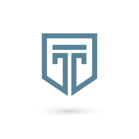 Letter T shield logo icon design template elements