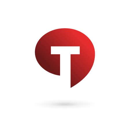 letter t: Letter T speech bubble logo icon design template elements