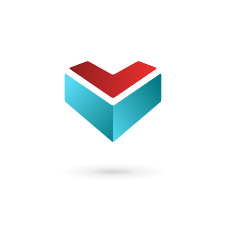 v shape: Business design template logo icon with letter V and heart