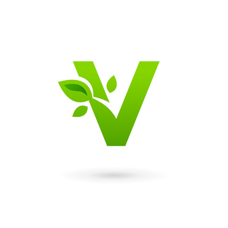 leaf logo: Letter V eco leaves logo icon design template elements
