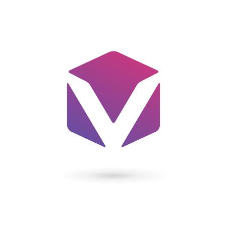 cubo: Elementos del modelo del logotipo del cubo icono del diseño de la letra V