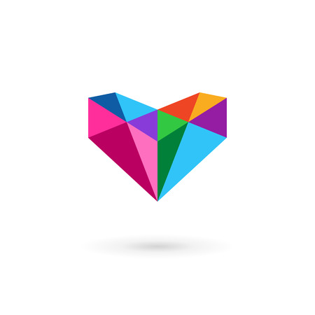 crystals: Diamond logo icon design template with letter V and heart