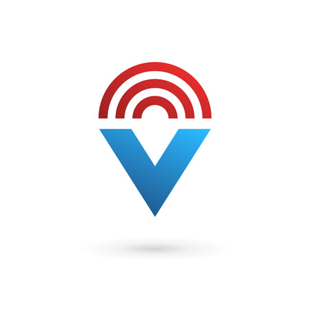 v shape: Letter V wireless logo icon design template elements Illustration