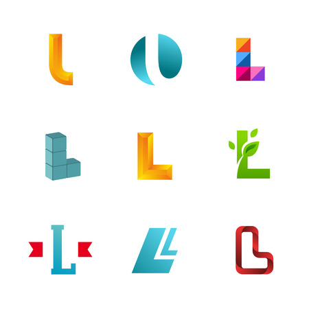 l: Set of letter L icons design template elements. Collection of vector signs.