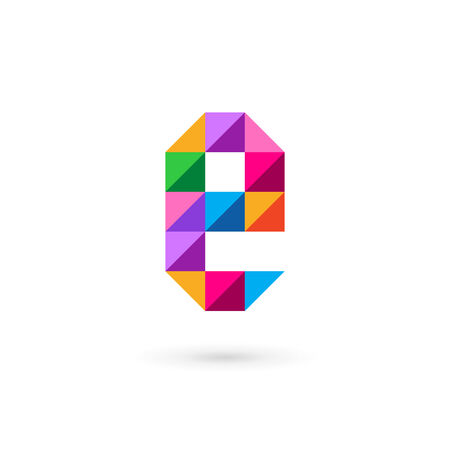 e business: Letter E mosaic icon design template elements Illustration