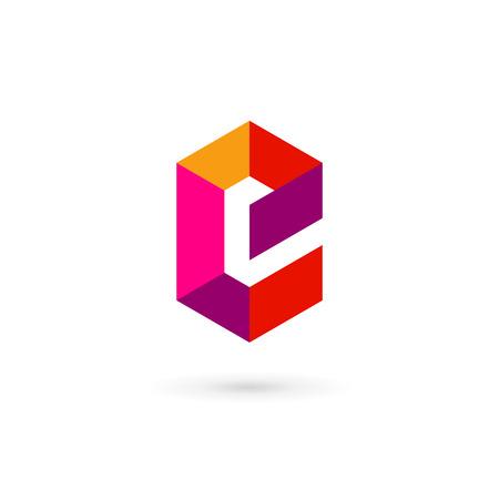 e card: Letter E mosaic icon design template elements Illustration