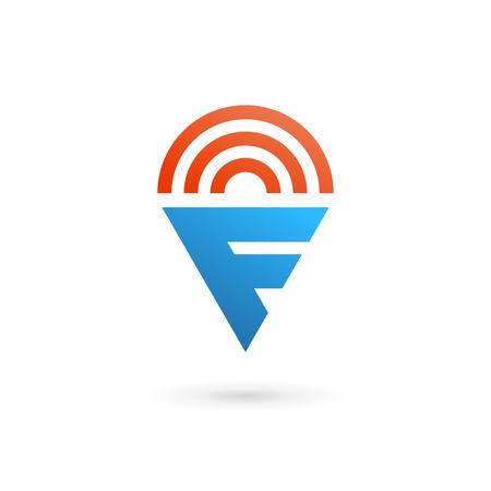 Letter F wireless icon design template elements Illustration