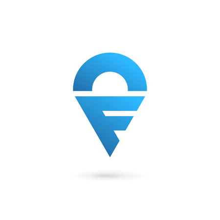 geotag: Letter F geotag icon design template elements