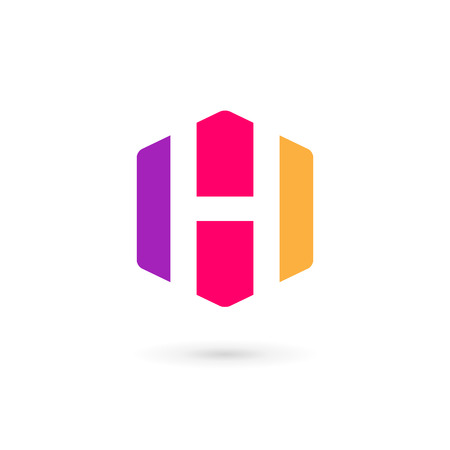 letter h: Letter H cube icon design template elements