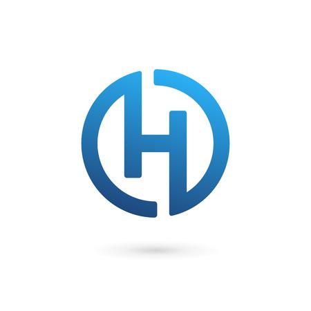 文字 H のアイコン デザイン テンプレート要素