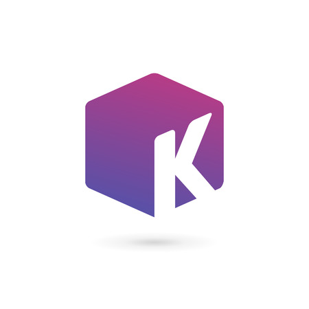 letter k: Letter K cube logo icon design template elements Illustration