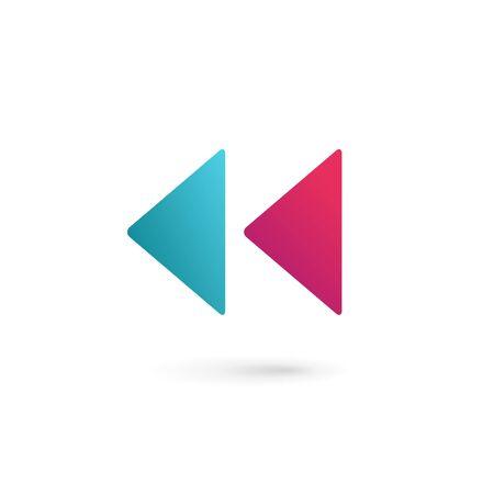 rewind icon: Letter K rewind icon design template elements Illustration