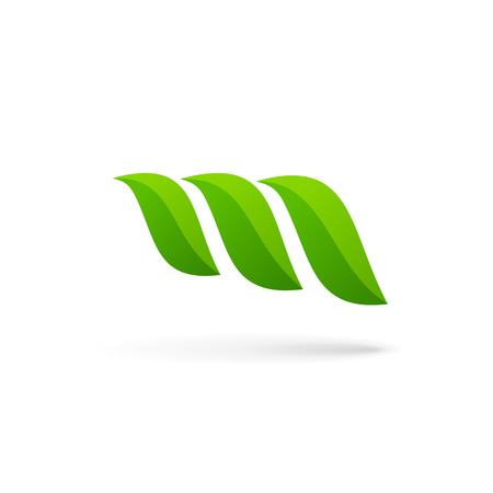 logo marketing: Letter M eco leaves logo icon design template elements
