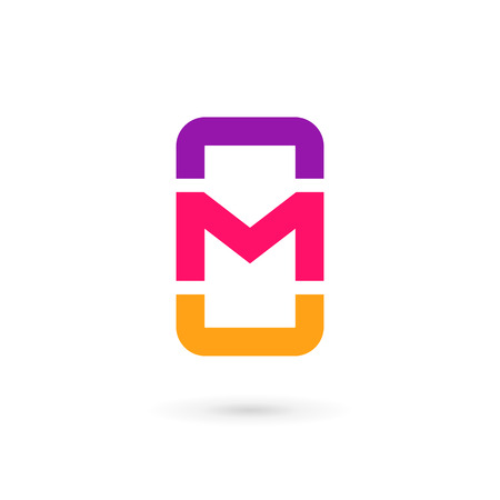 wireless communication: Mobile phone app letter M logo icon design template elements